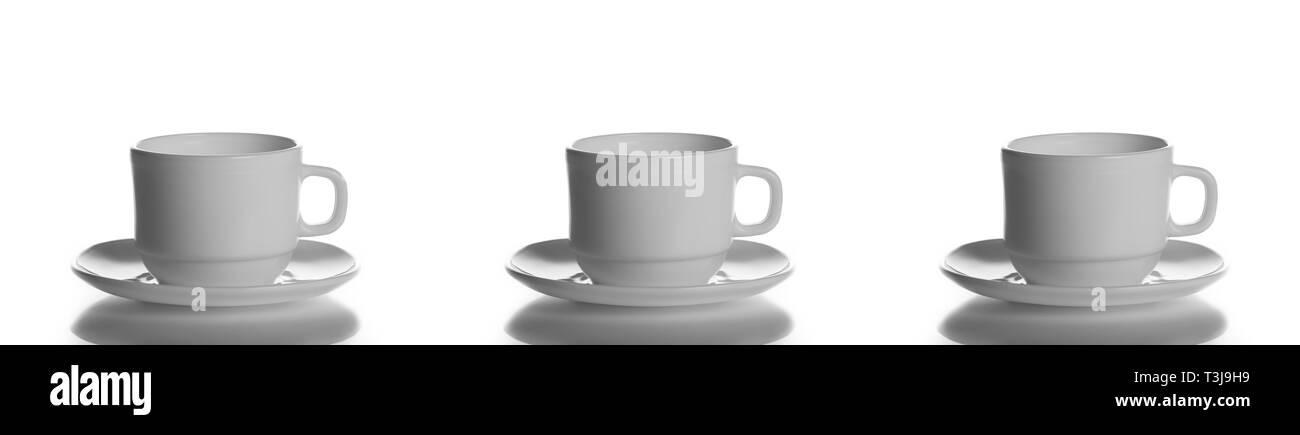 Vuoto, tazza bianca, isolato, tè, caffè, cappuccino, sfondo bianco, tazza mug piattino Tazzina piatto bianco stoviglie pila pila pulita tè vuota studio Foto Stock