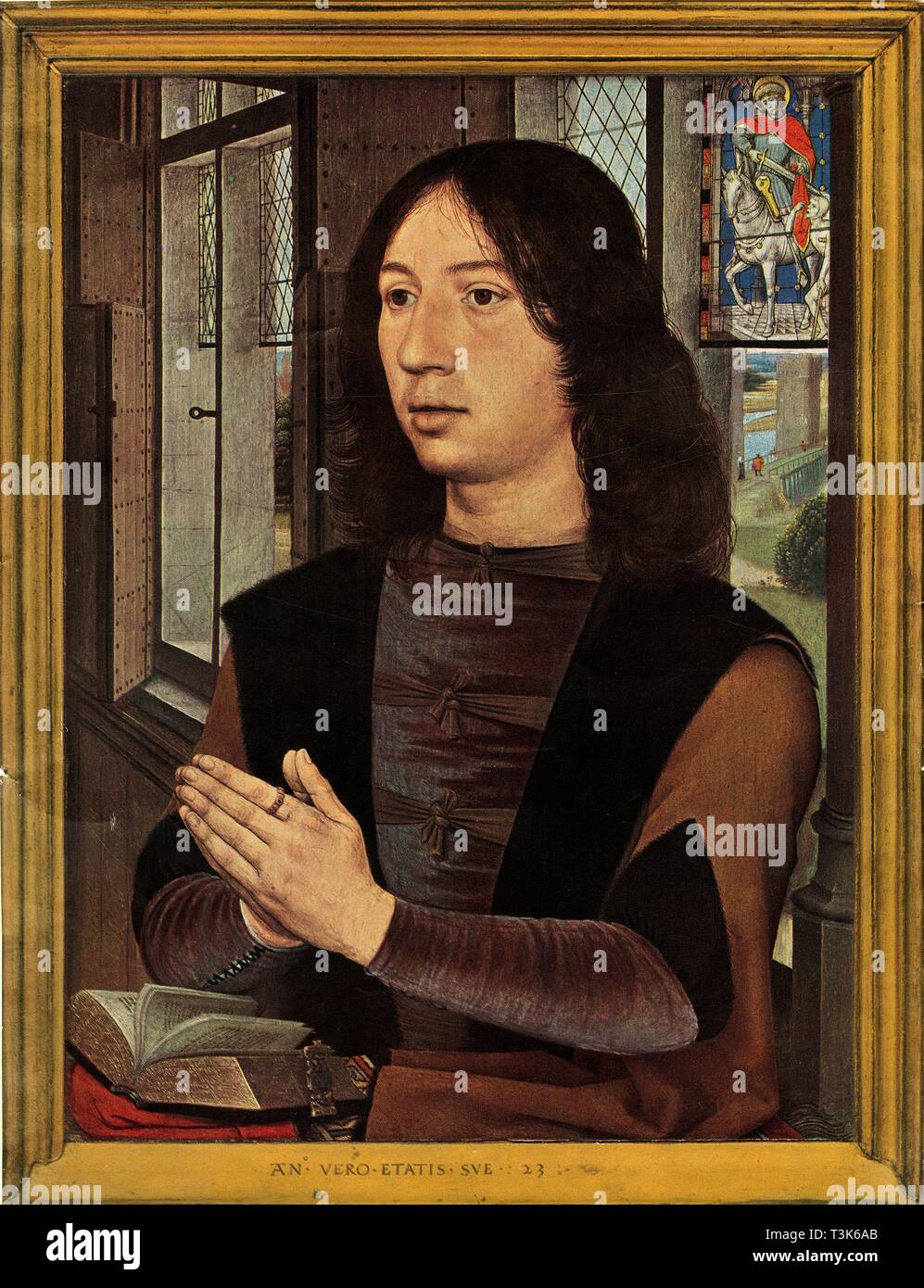 """"""" Ritratto di De Martin Van Nieuwenhowen', 1478. Nel 1490s, Van Nieuwenhove è stata successivamente un consigliere della città, il capitano della guardia civica e nel 1498 il sindaco di Bruges. Olio su pannello. Immagini Stock"""