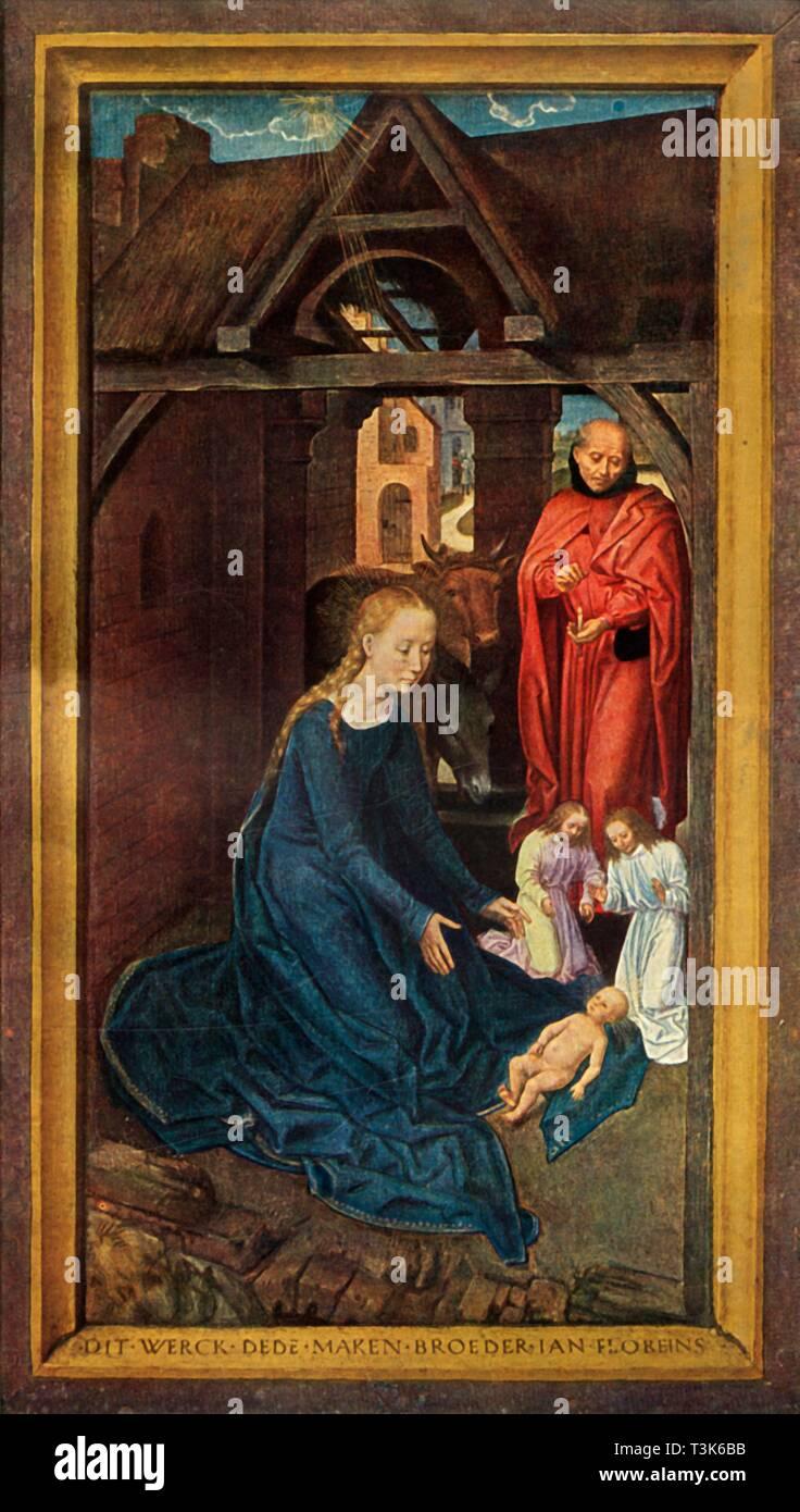 """""""Natività"""", 1479. Il pannello sinistro della tre-panel Jan Floreins pala o il trittico di Jan Floreins. Olio su pannello. Immagini Stock"""