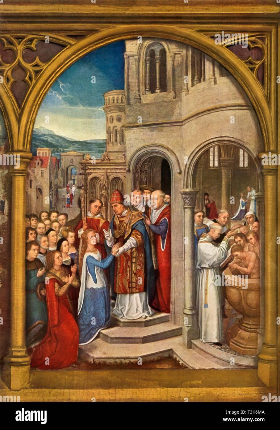 """""""L'arrivo a Roma', 1489. Reliquiario di Santa Ursula incontrato dal Papa Ciriaco, Ursula prende la comunione, coloro che non hanno ancora ricevuto il Battesimo subiscono la cerimonia. Olio su pannello. Immagini Stock"""