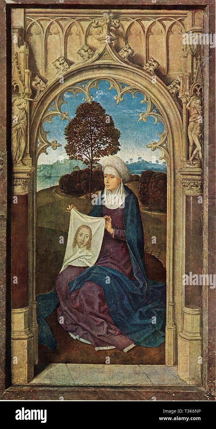 'Saint Veronica', 1470-1475. Saint Veronica era mosso a compassione testimoniare Gesù porta la croce sul Golgota e gli diede il suo velo per asciugare la sua fronte. Olio su pannello. Immagini Stock