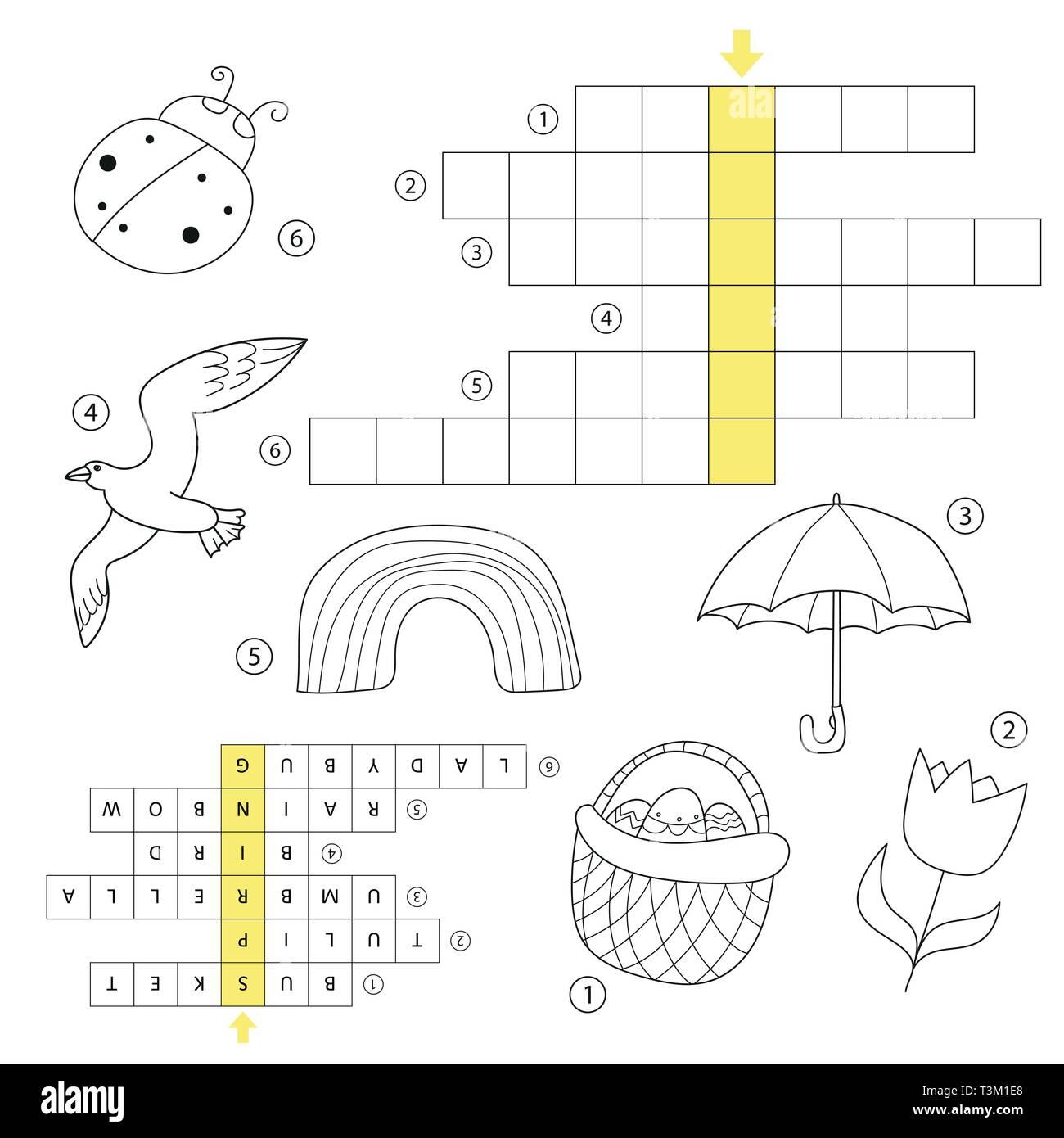 Il Cruciverba Educativo Gioco Per Bambini Con Risposta Molla Di Apprendimento Puzzle A Tema Libro Da Colorare Per I Bambini Di Eta Prescolare E In Eta Scolare Con La Risposta Immagine E