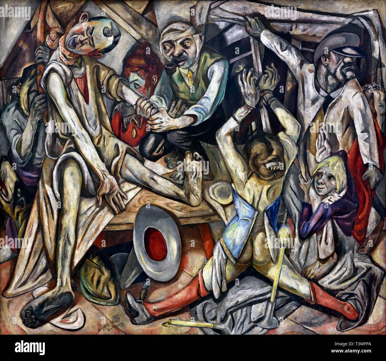 Die Nacht - Notte 1918-19 di Max Beckmann (1884 - 1950) Tedesco Immagini Stock