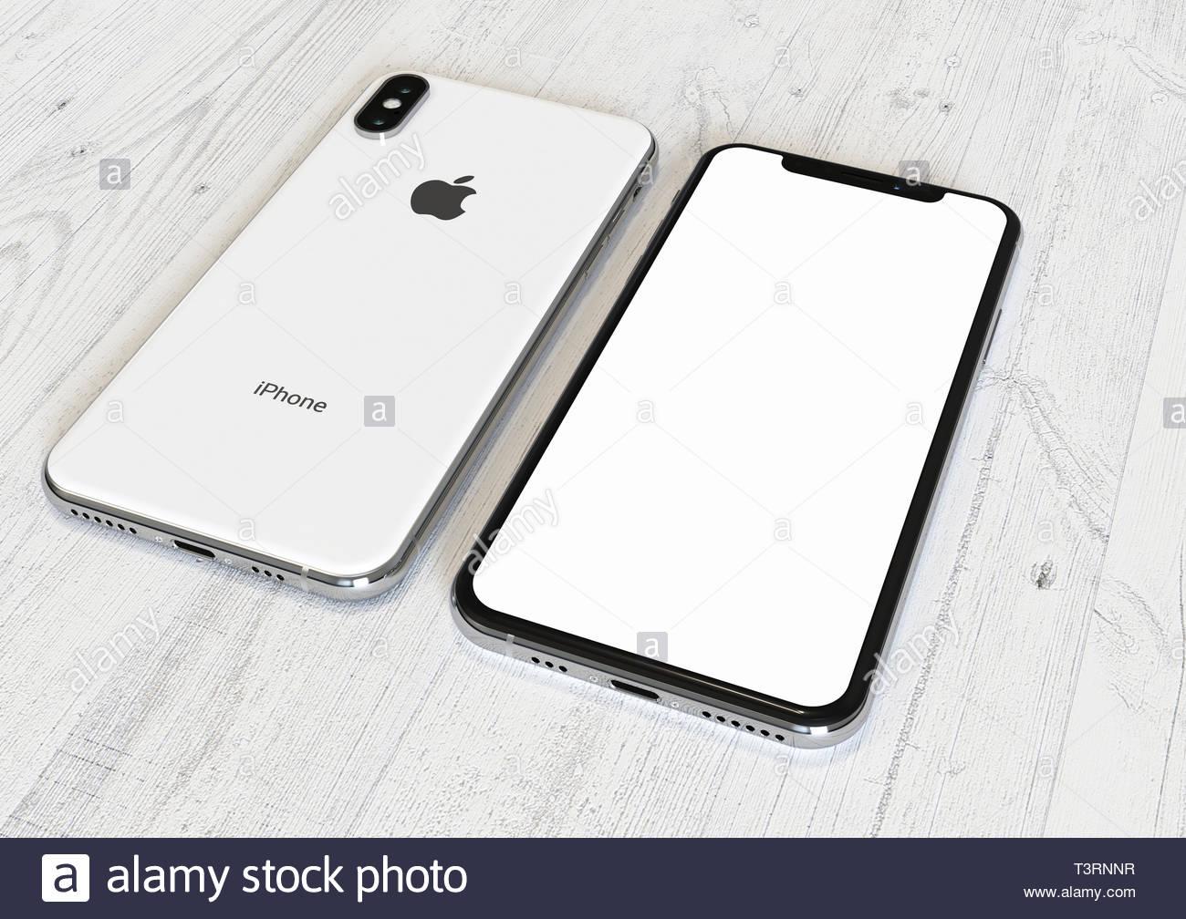 Bucarest Romania Aprile 2019 Apple Iphone Xs Silver Smartphone