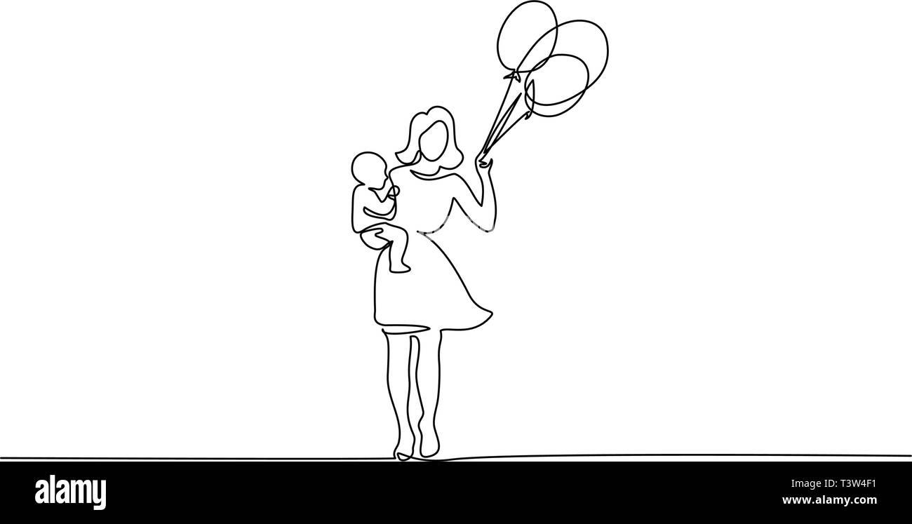 Madre Felice Giorno Della Carta Continuo Di Un Disegno Della Linea