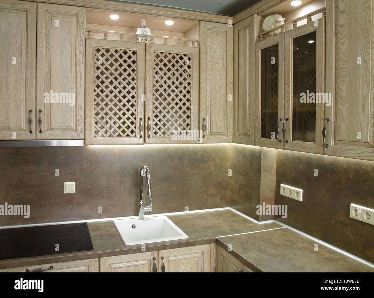Dettagli di stile vintage mobili per cucina in beige marrone colore ...