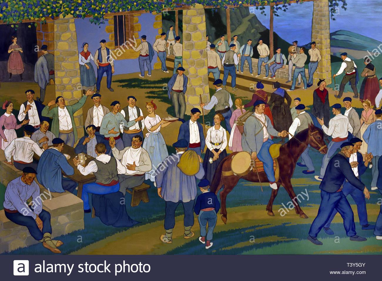 Local Fiesta 1926 José Arrue nato a1885 basco pittore spagnolo Immagini Stock