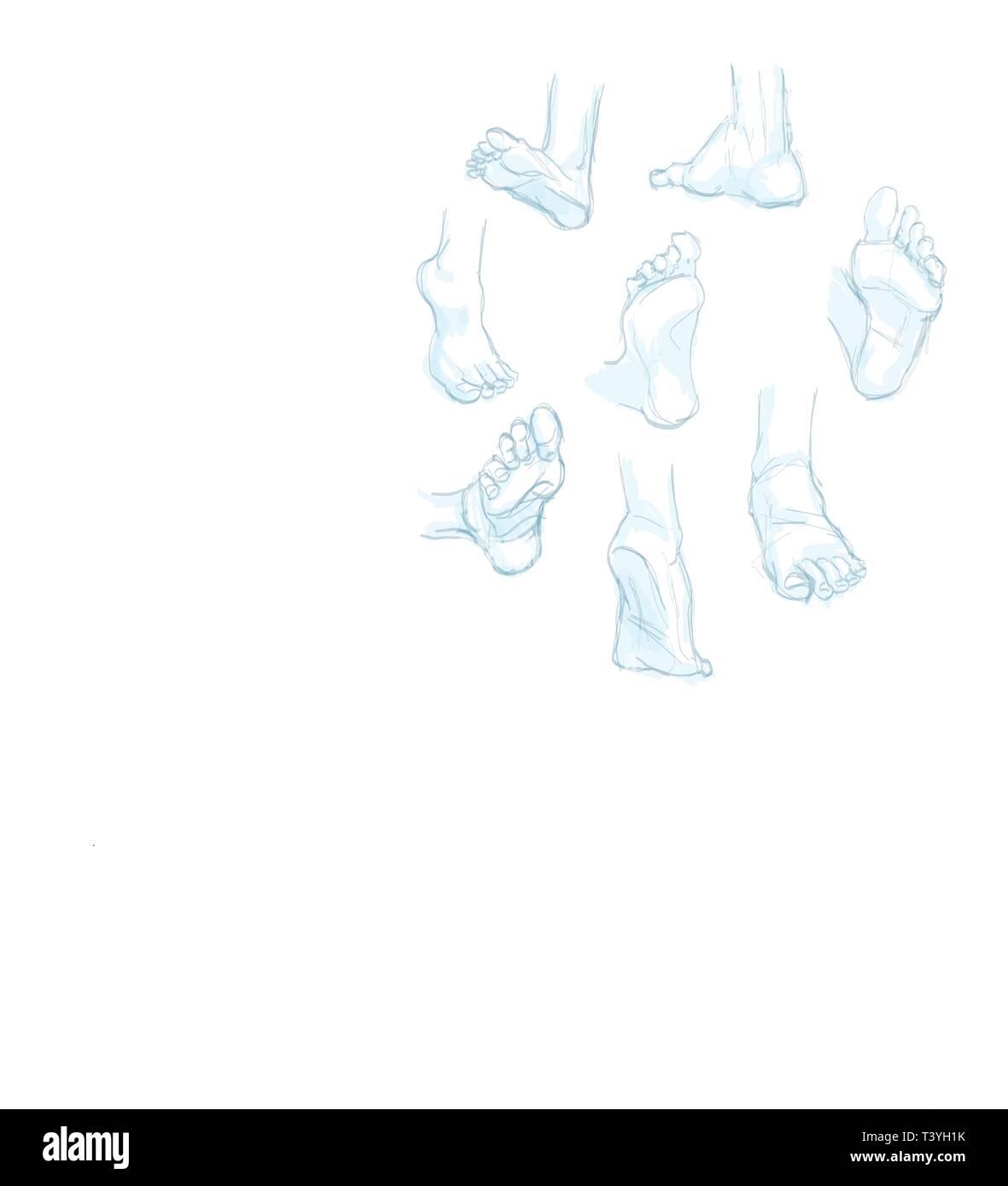 Piedi doodle. mano bozzetto. illustrazione Immagini Stock