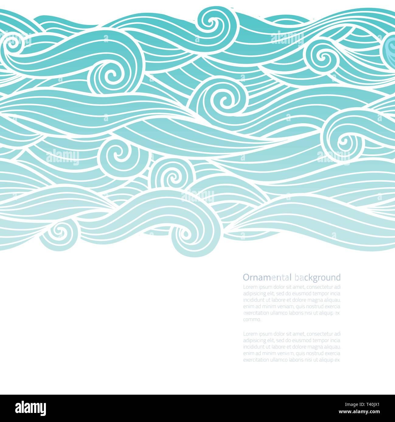 Onde Orizzontalmente Pattern Design Uniforme Di Acqua Sfondo Verde