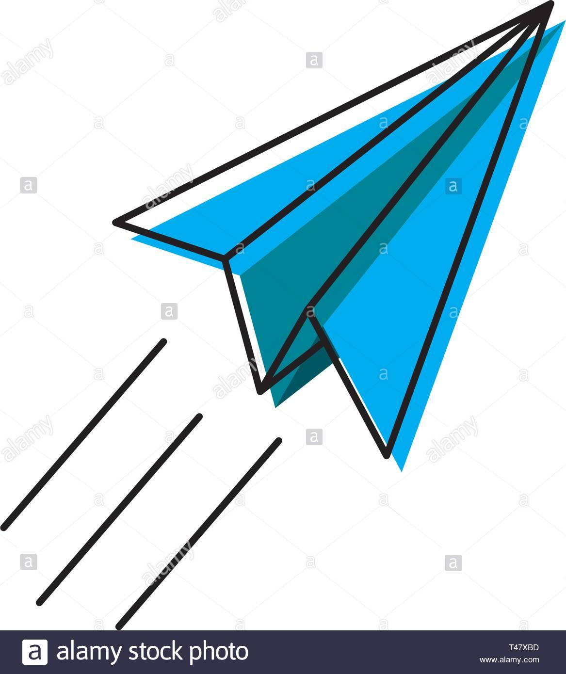 Aeroplano Di Carta Icona Linea Piatto Aereo Origami Isolati Su