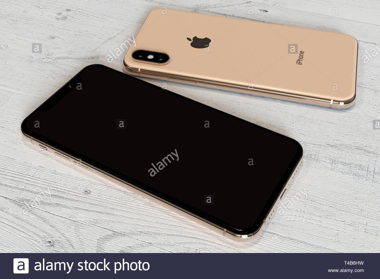Bucarest Romania Aprile 2019 Apple Iphone Xs Gold Smartphone