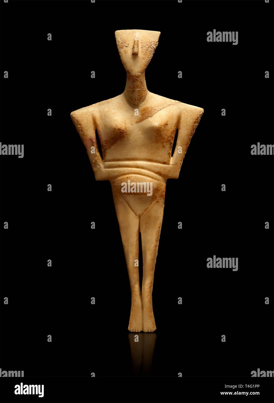 Il neolitico in marmo Statuetta femminile grave offerta di inizio delle Cicladi periodo II dal Chalandriani, di Syros. 2800-2300BC. Archeologico di Atene Immagini Stock