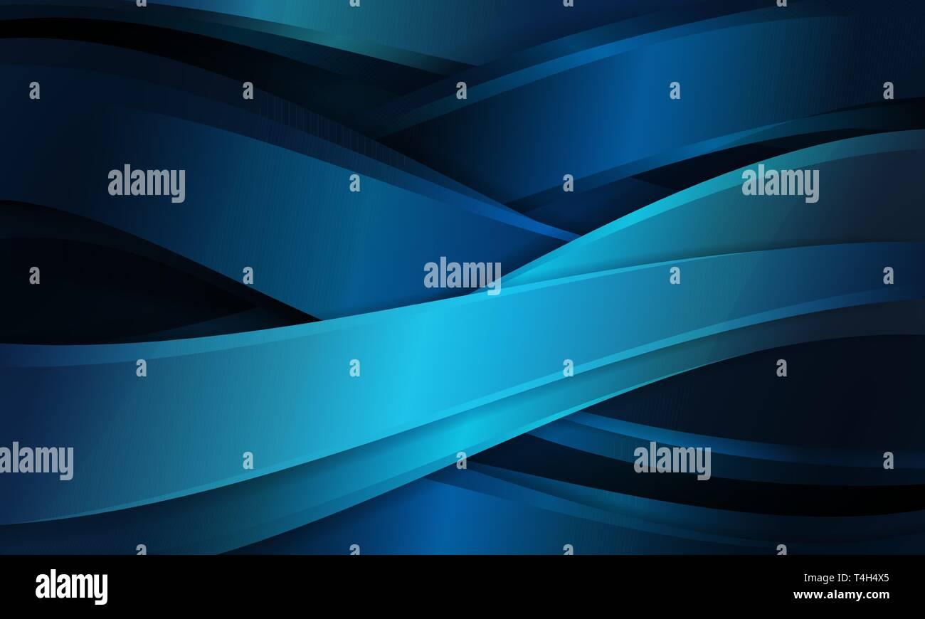 Abstract di forma curva sfondo blu modello incrociato con luce e ombra, copia il design dello spazio per banner, sfondo presentazione Immagini Stock