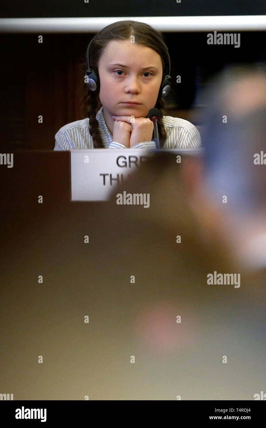 Roma, Italia. Xviii Apr, 2019. Greta Thunberg Roma 18 Aprile 2019. Teen attivista clima Greta Thunberg prende parte a un seminario sul clima presso il Senato italiano. foto di Samantha Zucchi Insidefoto/credito: insidefoto srl/Alamy Live News Immagini Stock
