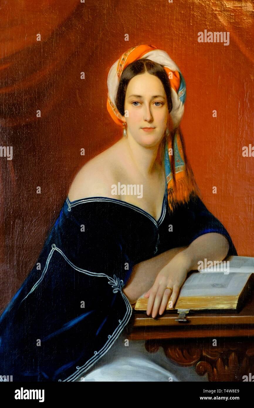 Condesa Potocka con turbante, , Francisco Xavier Winterhalter, Castillo del Conde Branicki, Montrésor, Departamento de Indre y Loira, Francia,l'Europa occidentale. Immagini Stock