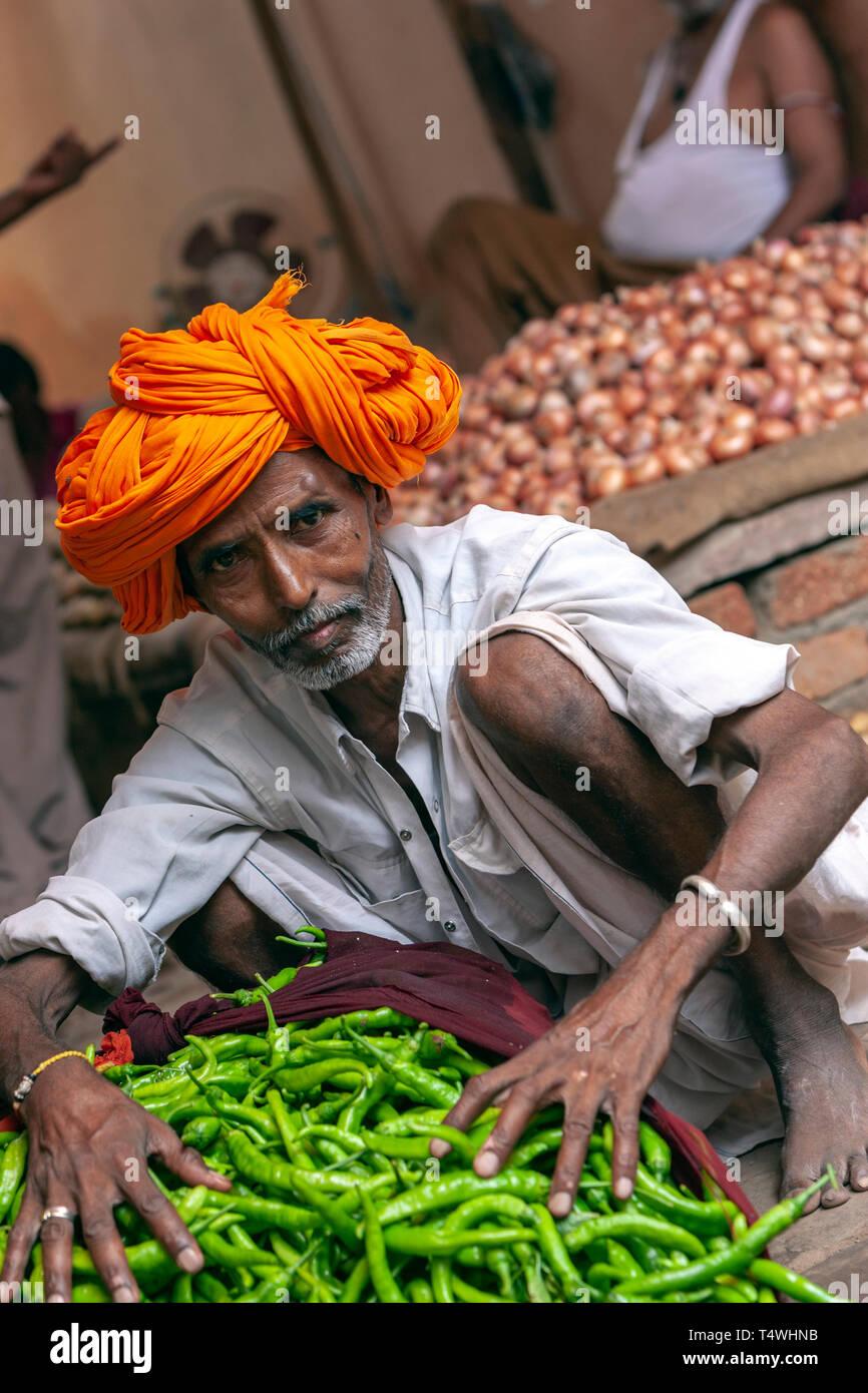 Ritratto di una barba di Rajasthani uomo con turbante colorato, in Sabzi Mandi,mercato ortofrutticolo, Bundi Mercato, Bundi, stato del Rajasthan, India. Immagini Stock