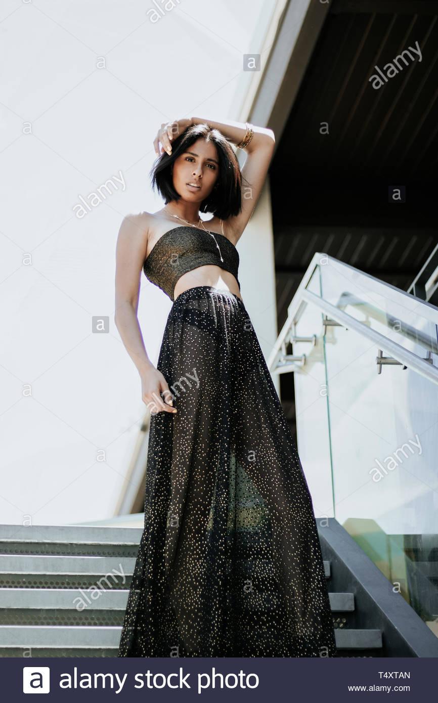 Indossa splendenti abito nero Immagini Stock