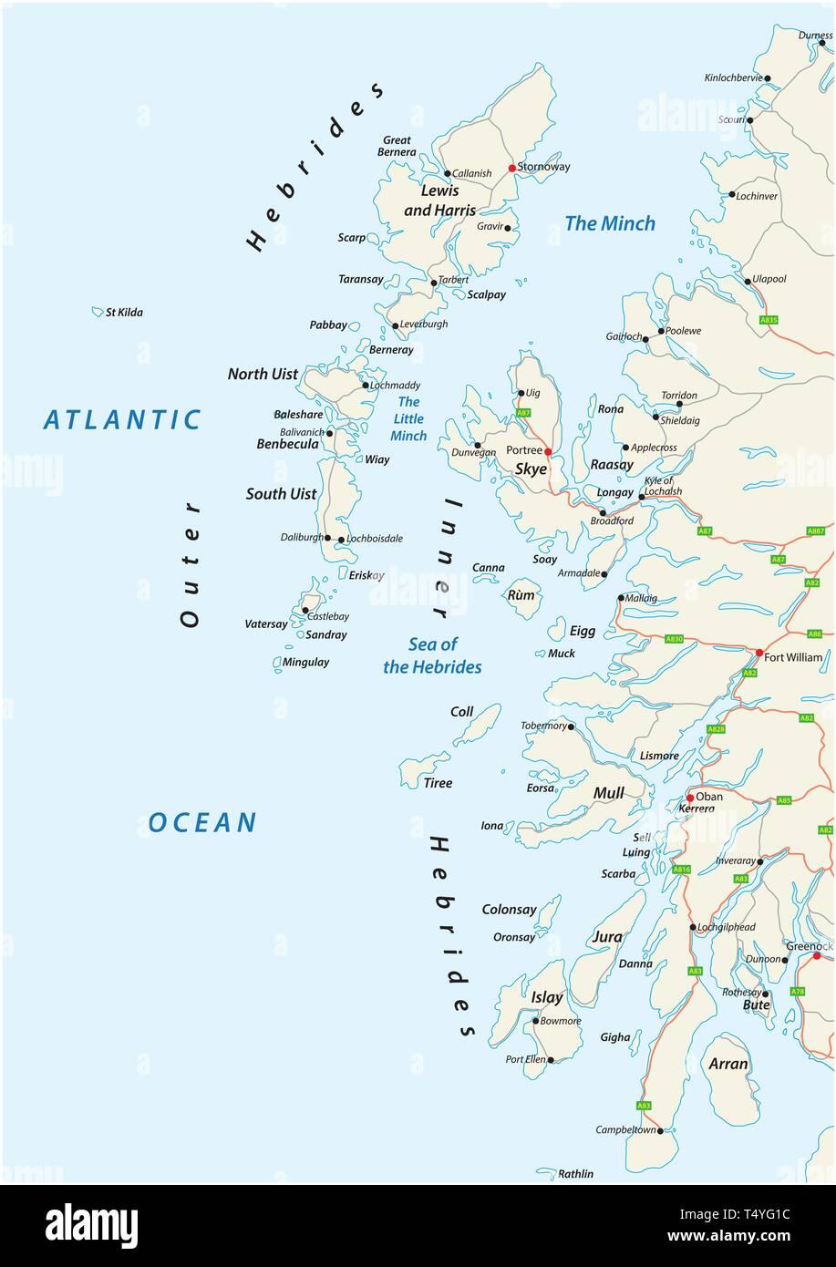 Cartina Stradale Della Scozia.Vettore Mappa Stradale Di Arcipelago Scozzese Ebridi Presso La Costa Nord Occidentale Della Scozia Immagine E Vettoriale Alamy