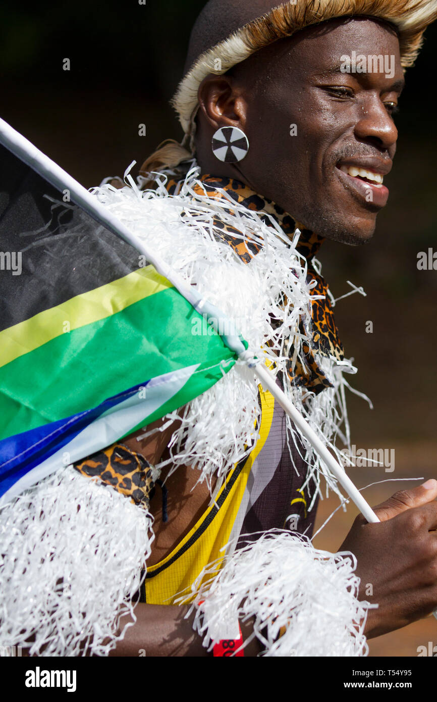 Zulu abbigliamento e SA bandiera, in funzione i due Oceani ULTRA MARATONA Foto Stock
