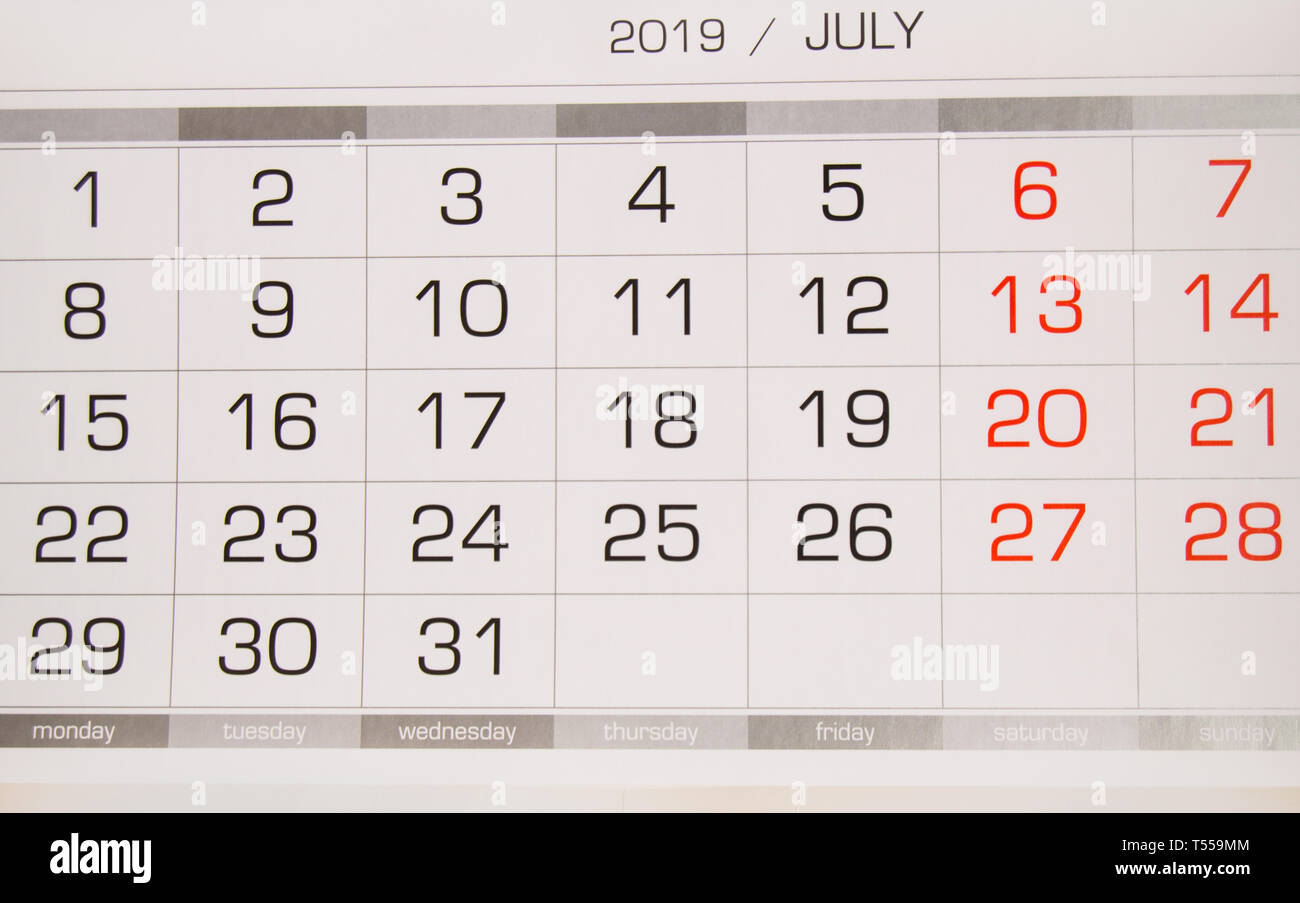 Calendario 31 Luglio 2019.Il Calendario Di Luglio 2019 Con Giorni Lavorativi E Week