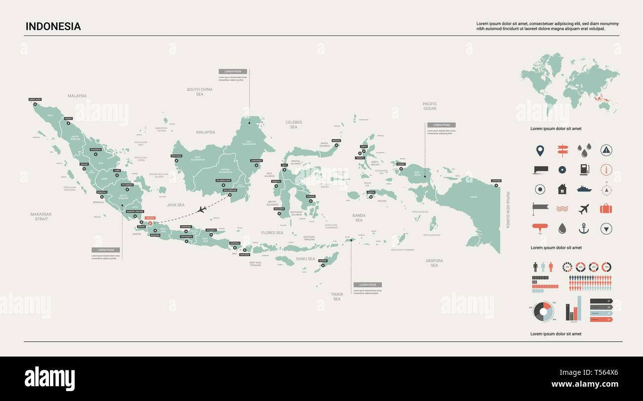 Cartina Indonesia Dettagliata.Mappa Vettoriale Dell Indonesia Alta Dettagliata Mappa Del Paese Con La Divisione La Citta E La Capitale Jakarta Mappa Politico Mappa Del Mondo Elementi Infografico Immagine E Vettoriale Alamy