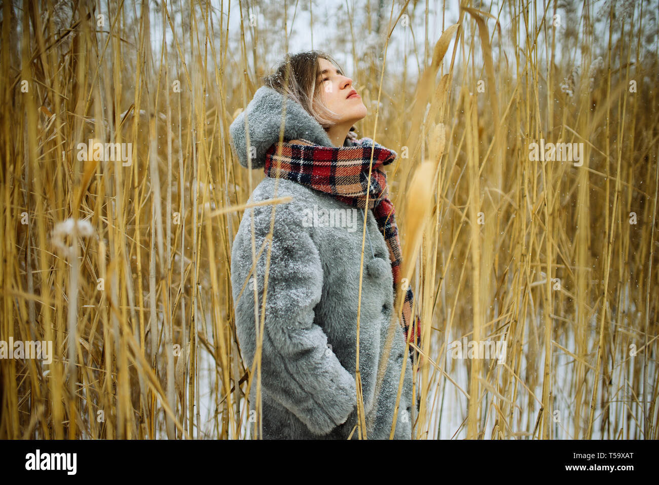 Donna in inverno si erge in lamelle a secco Foto Stock