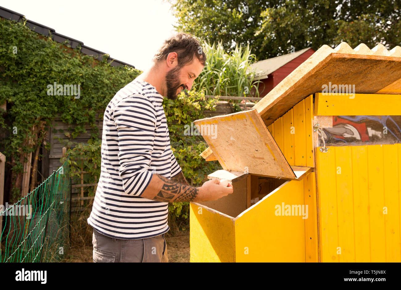 L'uomo raccogliere le uova in chickenhouse Foto Stock
