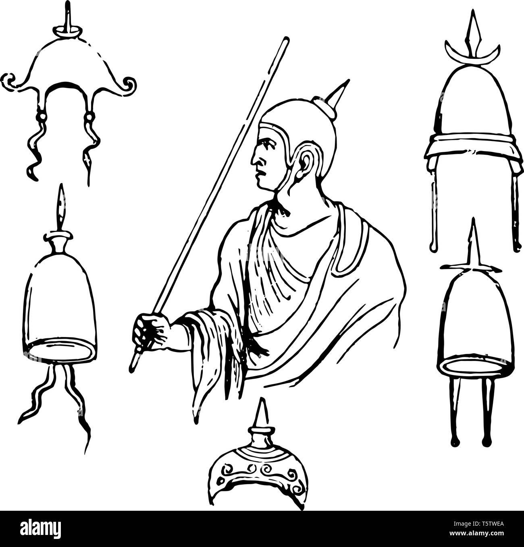 Apex è stato un cappuccio indossato dal Flamines vintage disegno della linea di incisione o illustrazione. Immagini Stock