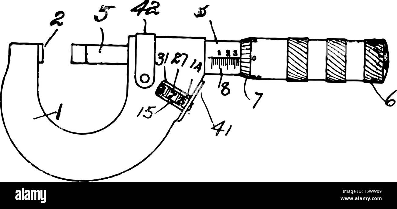 Questa immagine rappresenta il micrometro che viene usato per la misurazione di molto piccole distanze vintage disegno della linea di incisione o illustrazione. Immagini Stock