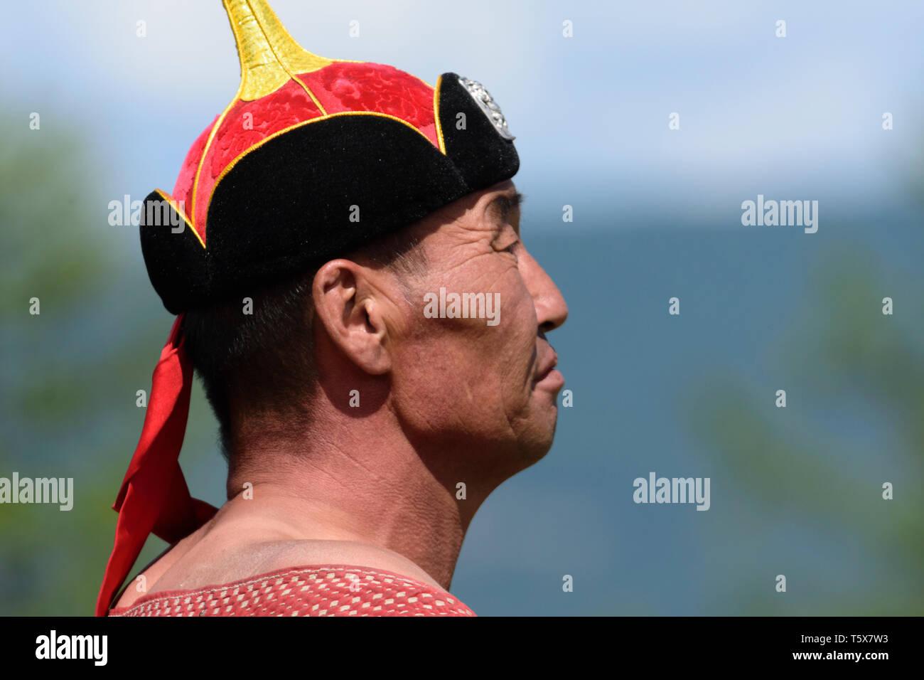 Naadam Festival in Khatgal, Mongolia. Il lottatore Immagini Stock