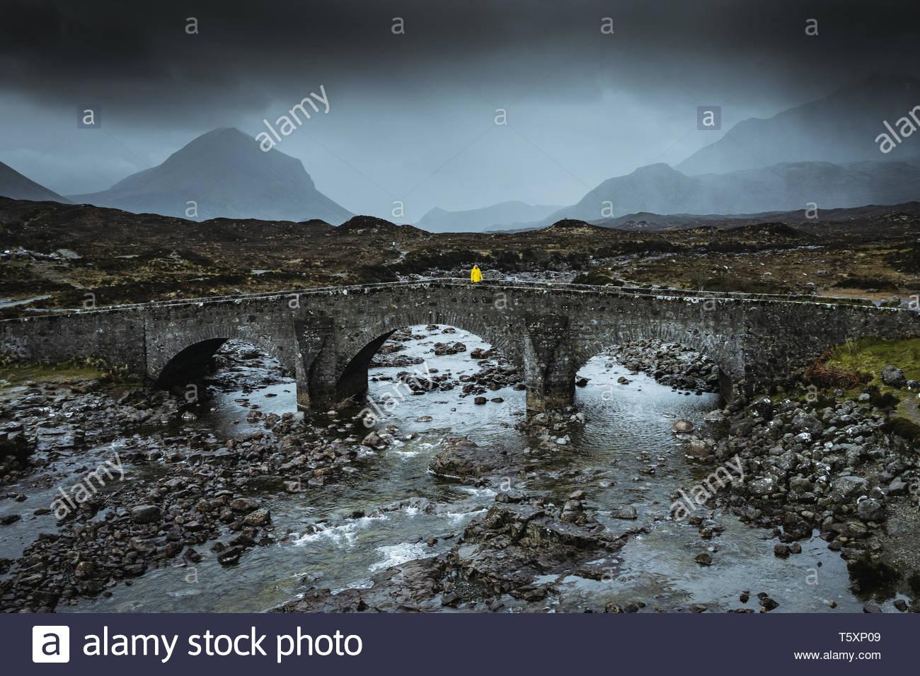 Sligachan Old Bridge in Scozia Immagini Stock