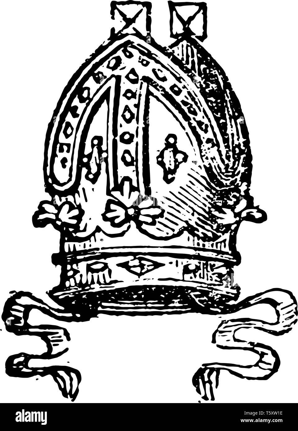 Mitre sono indossati da Cattolica Romana arcivescovi, vintage disegno della linea di incisione o illustrazione. Immagini Stock