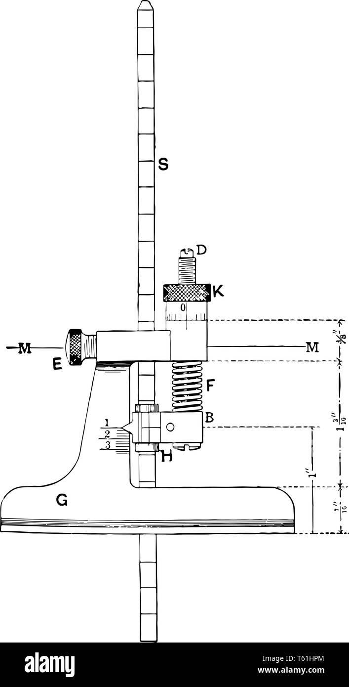 Micrometro di profondità Gage che utilizzato per misurare i fori irregolari in stretta noioso, vintage disegno della linea di incisione o illustrazione. Immagini Stock