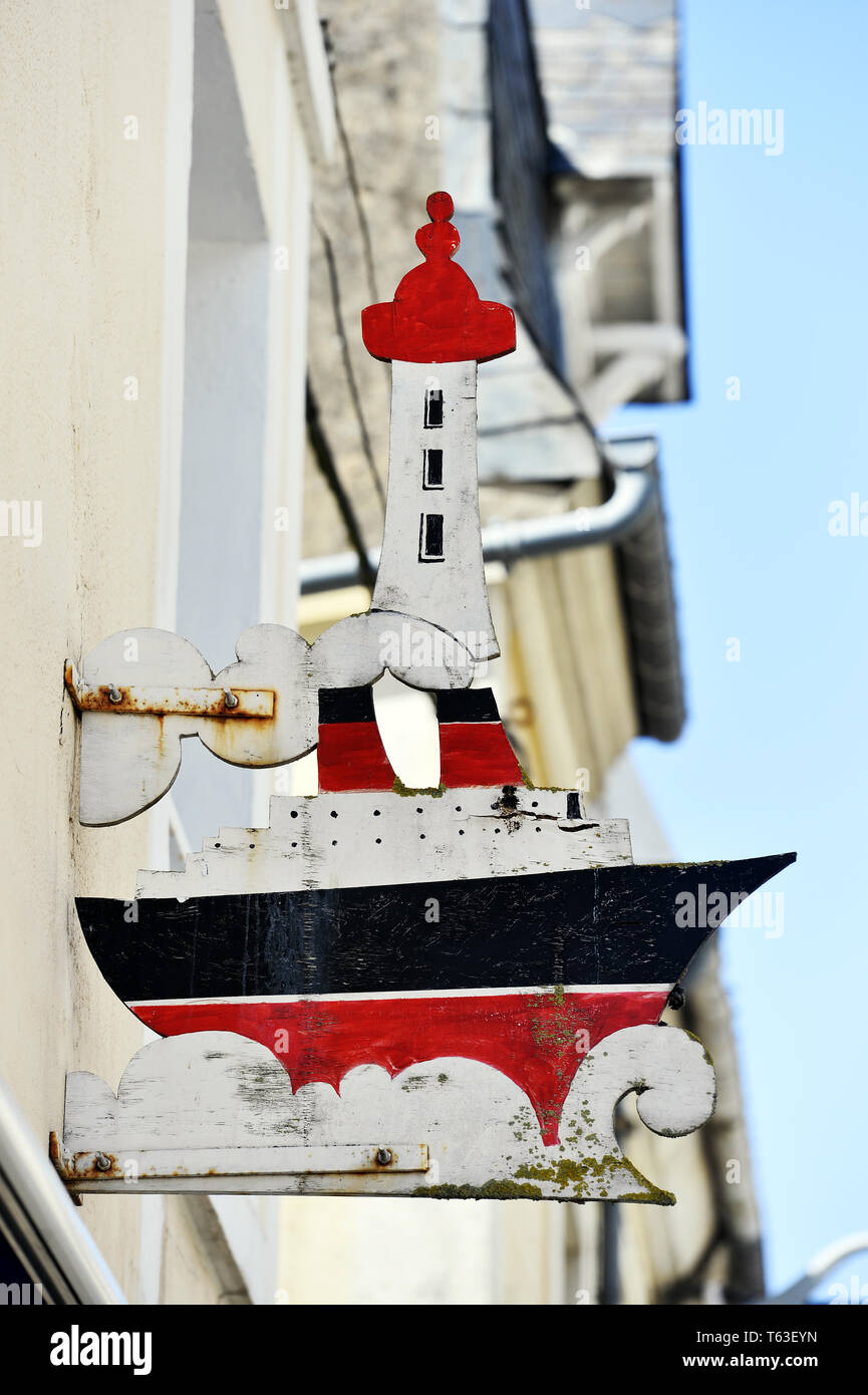 Ristorante Shop segno - Trouville - Francia Foto Stock