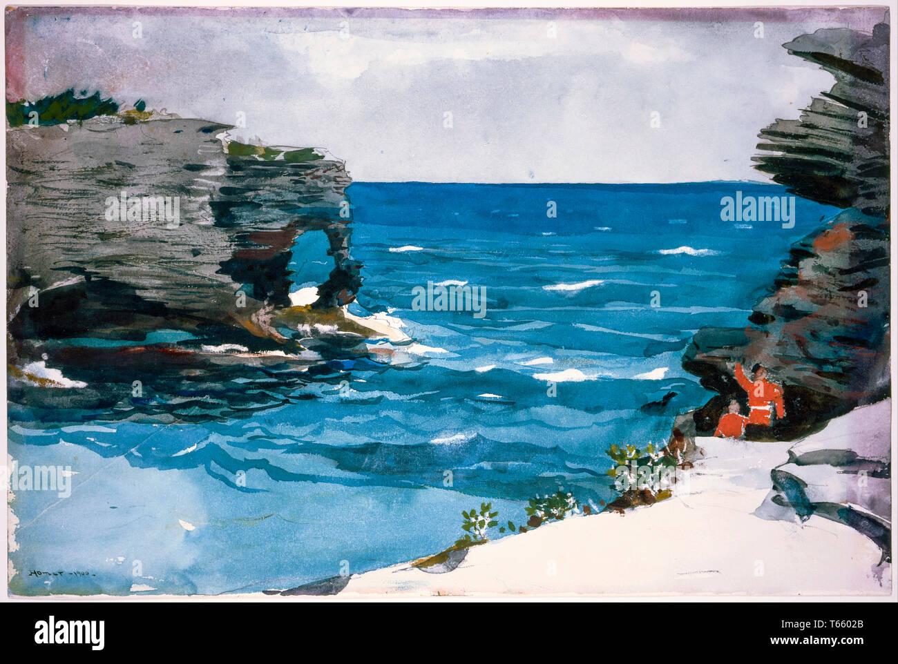 Winslow Homer, spiaggia rocciosa, Bermuda, pittura, 1900 Immagini Stock