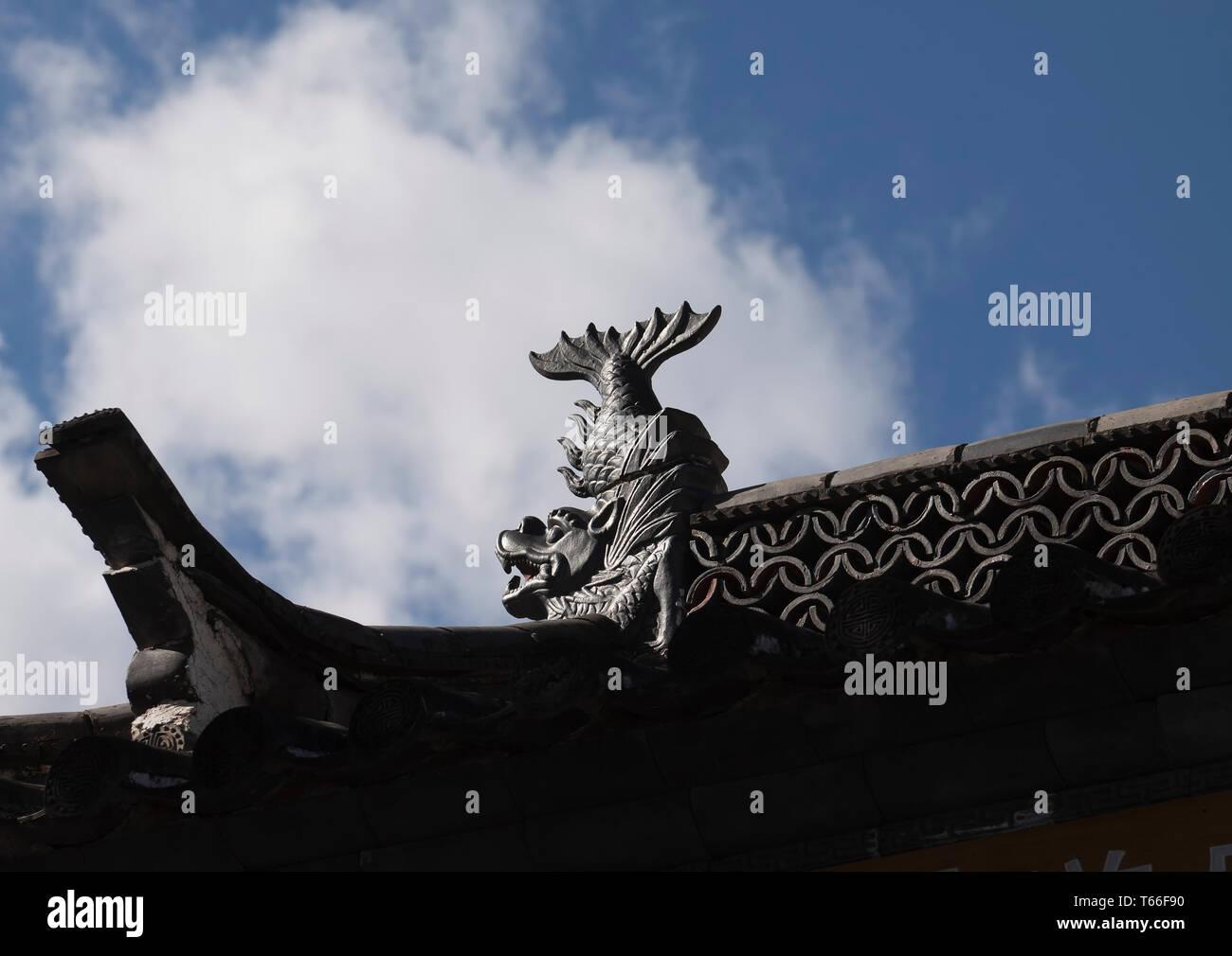 Villaggio Yuhu, appartenente alla minoranza Naxi, situato a circa 15 chilometri a nord di Lijiang Old Town, è l'ultimo villaggio della valle Immagini Stock