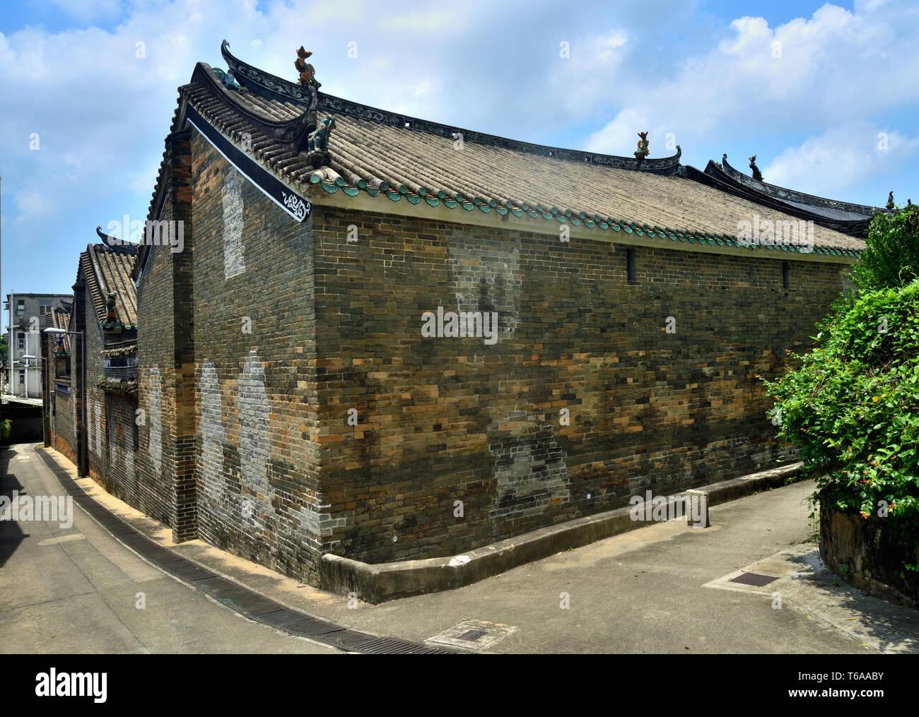 Antico stile cinese case in mattoni, Ping Shan, Hong Kong Immagini Stock