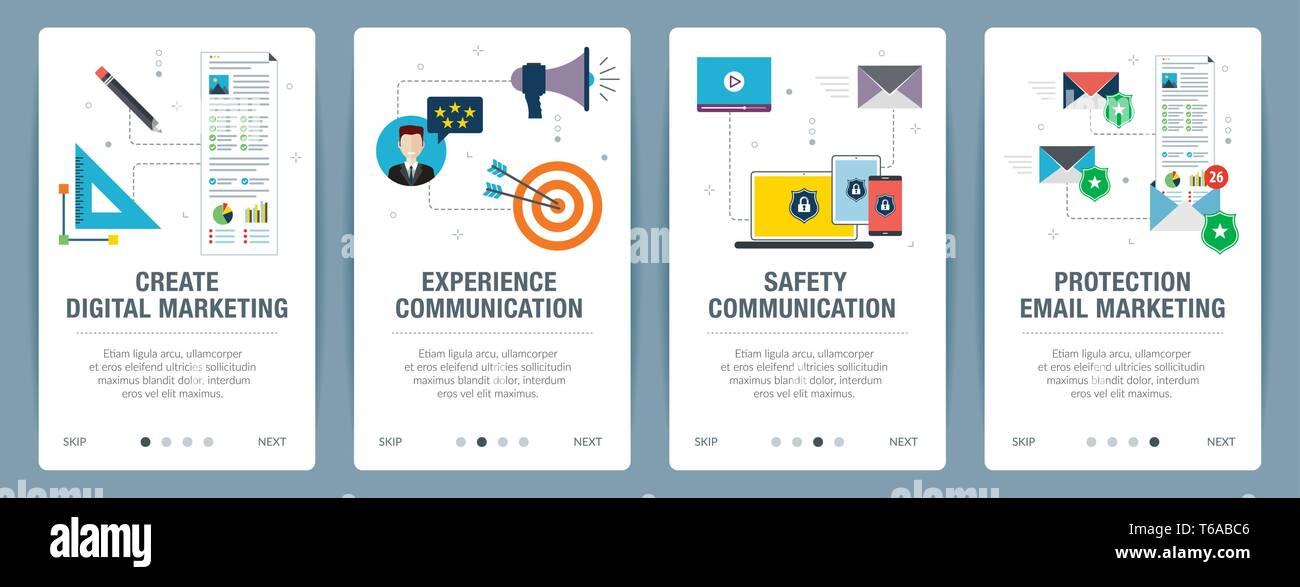 Set di vettore verticale di banner per il web con il marketing digitale, di esperienze e di comunicazione per la sicurezza, protezione e-mail marketing.Vettore modello di pagina di intestazione per Immagini Stock