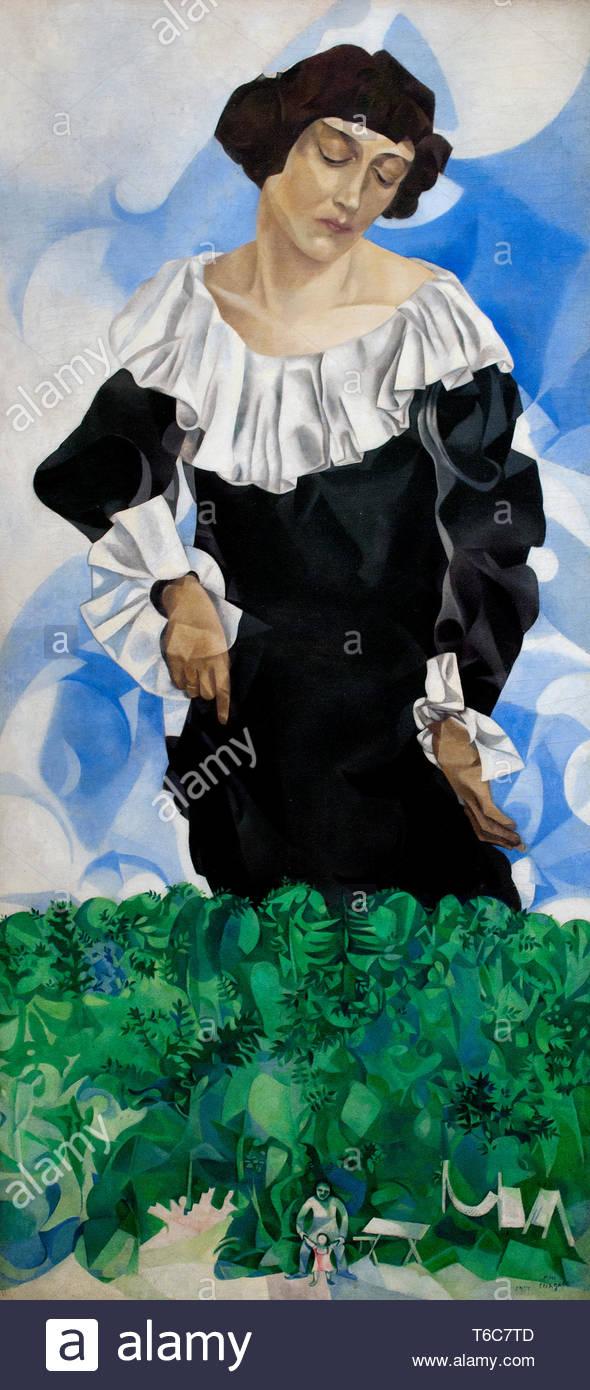 Bella con collare bianco 1917 da Marc Chagall nasce nel 1887 era un artista Russian-French bielorussa di origine ebraica. Immagini Stock