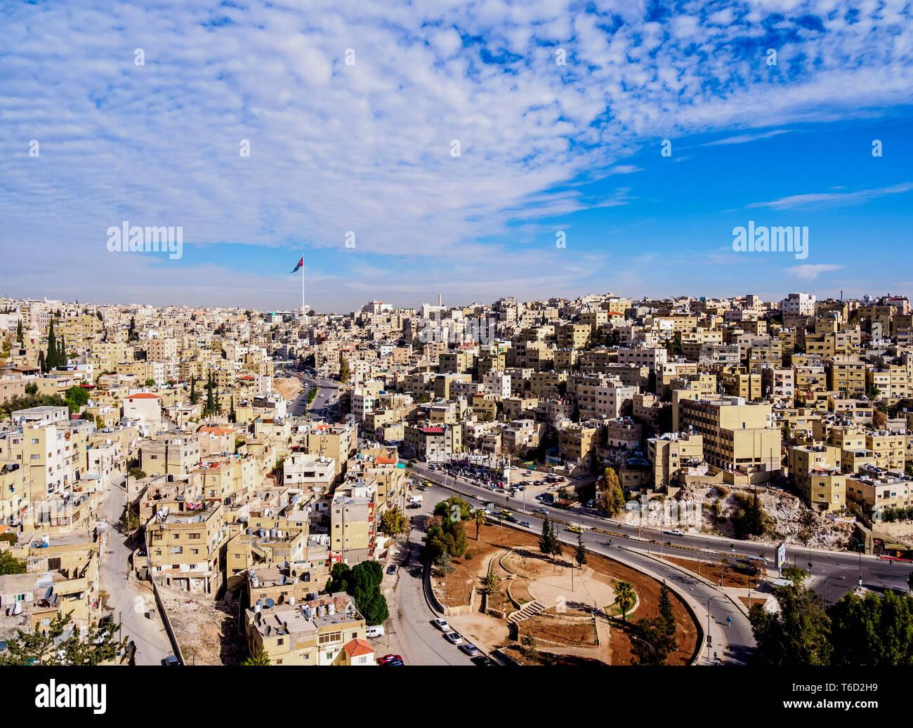 Paesaggio visto da Citadel Hill, Amman, Governatorato di Amman, Giordania Immagini Stock