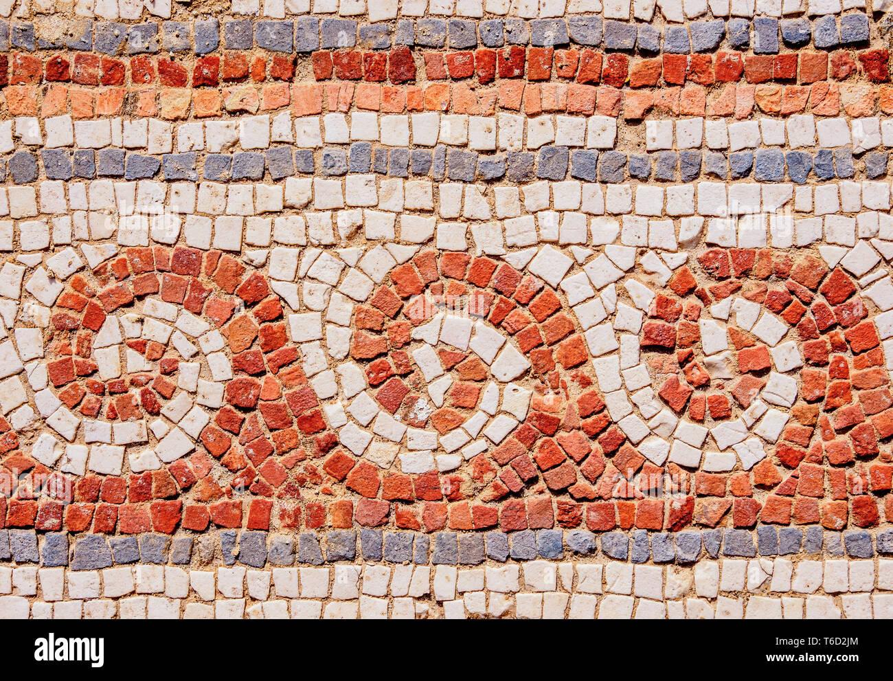 Pavimento a mosaico in Jerash Jerash, Governatorato, Giordania Immagini Stock