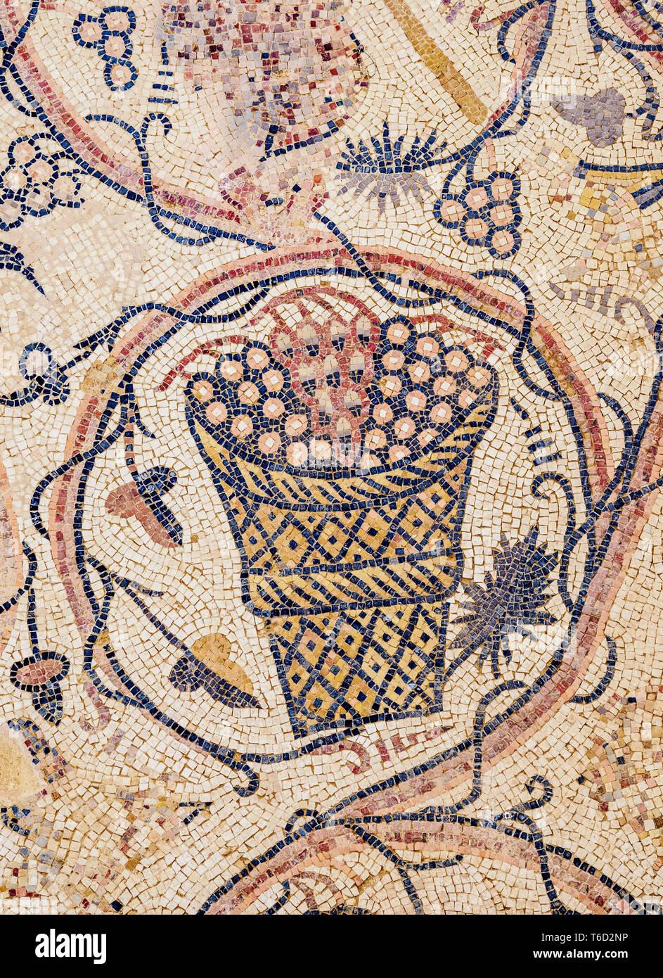Pavimento a mosaico in Umm ar-Rasas, Governatorato di Amman, Giordania Immagini Stock