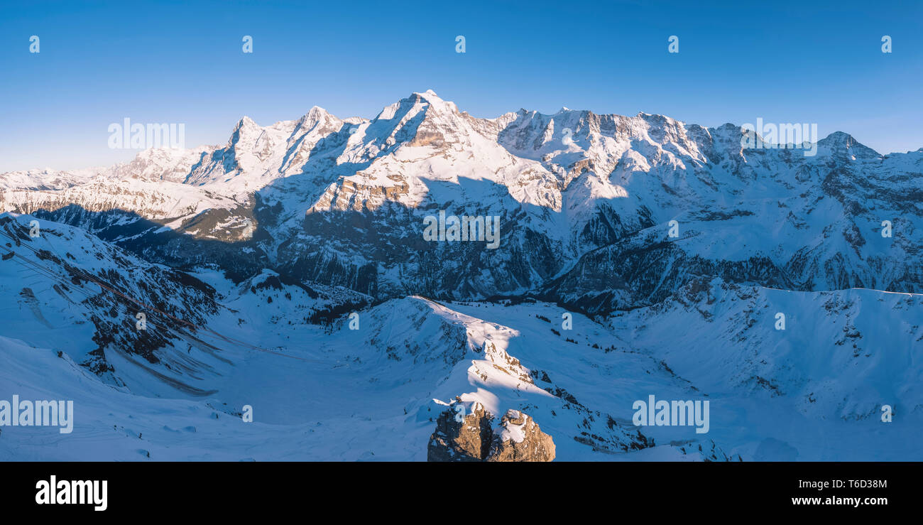 Eiger, Mönch e Jungrau, Berner Oberland, cantone di Berna, Svizzera Immagini Stock