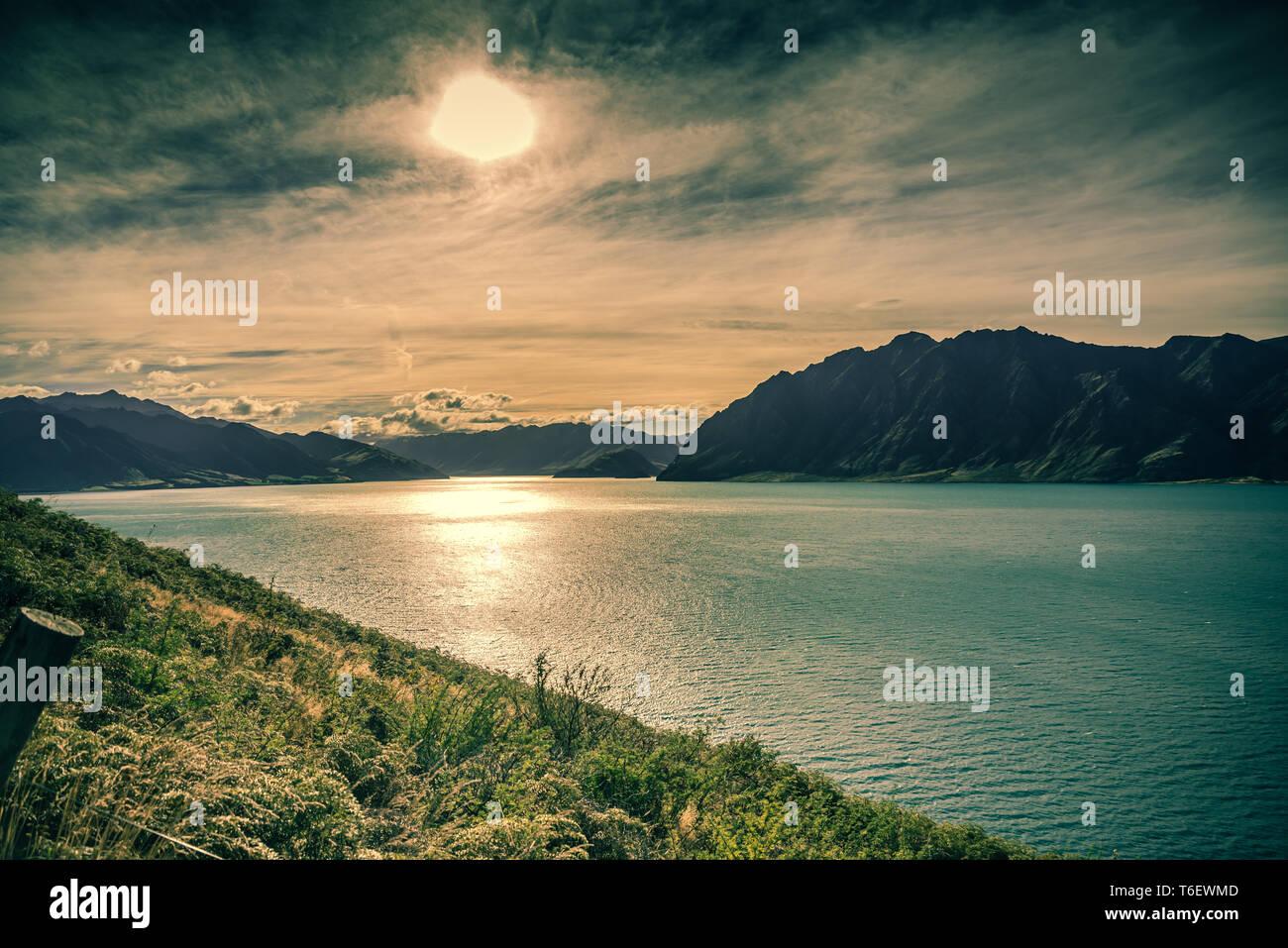 Il lago Wanaka, Isola del Sud, Nuova Zelanda Foto Stock