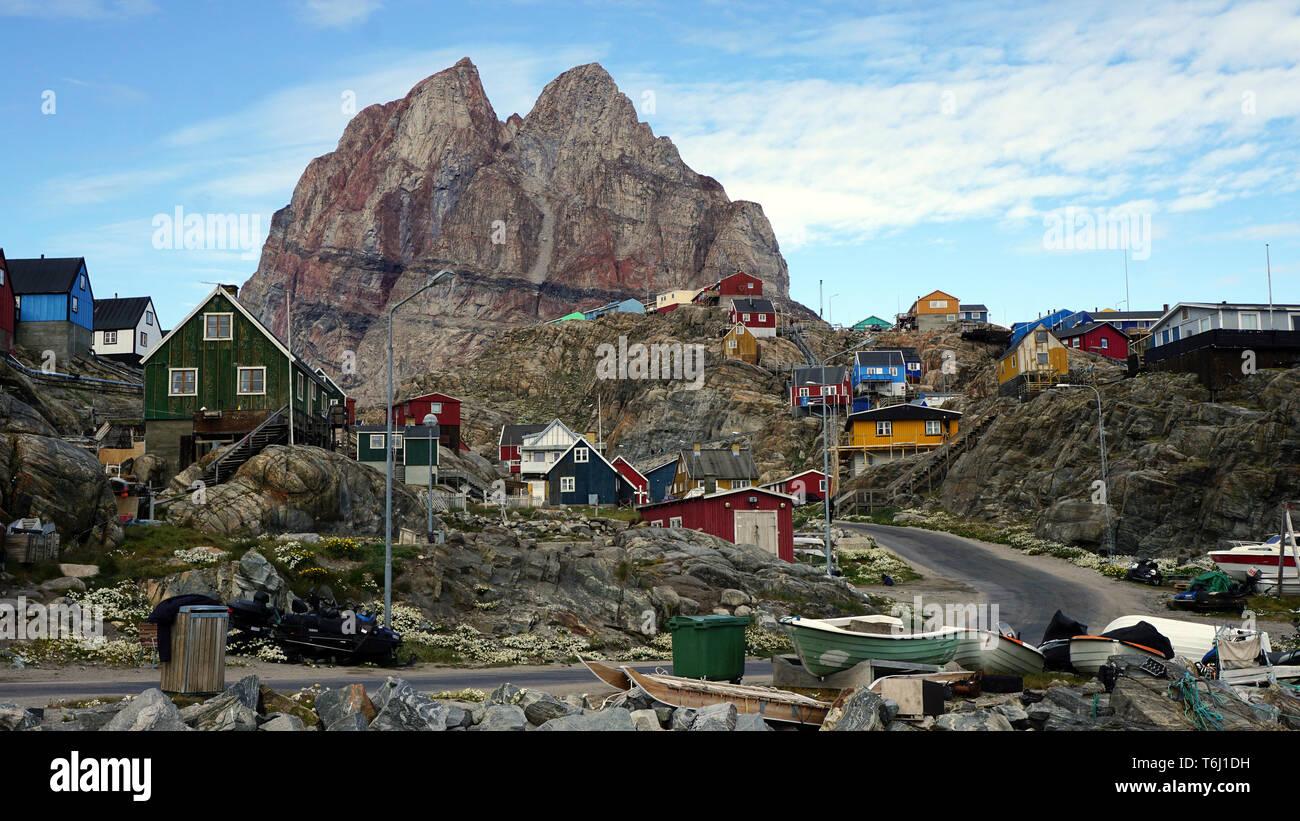 Stadtbild von Umanaq auf Grönland Immagini Stock
