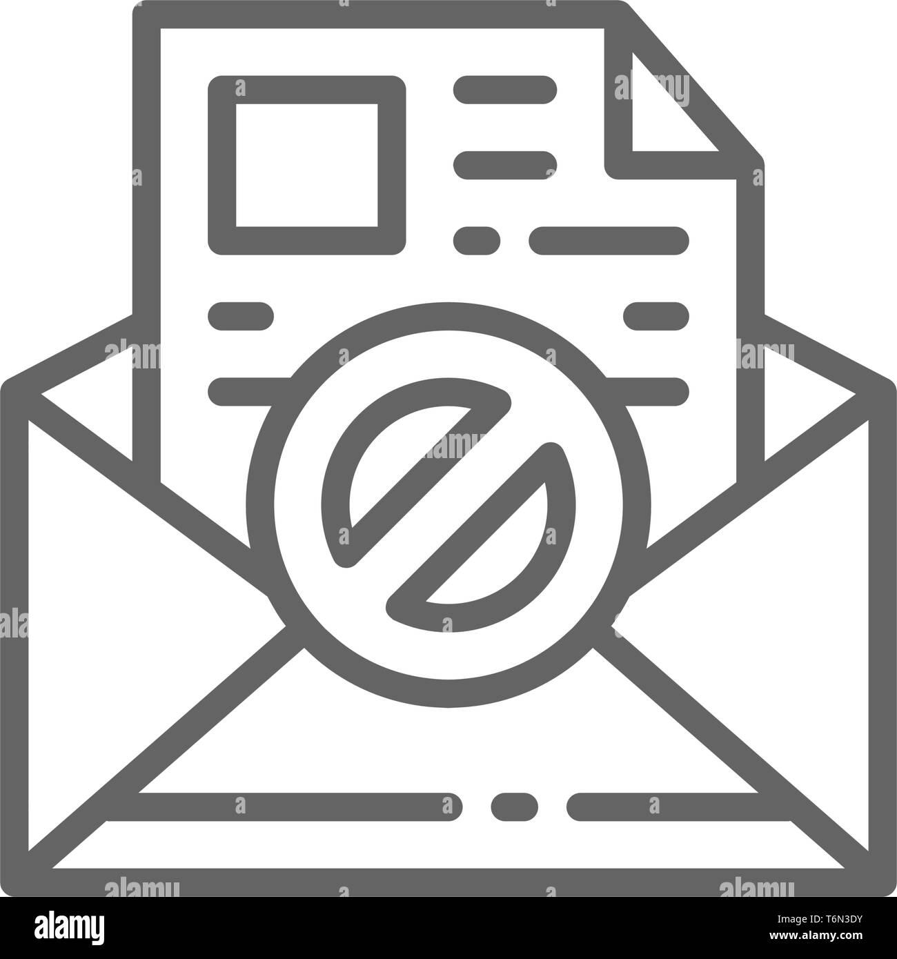 E-mail, protezione anti-malware, spyware, trojan icona linea. Illustrazione Vettoriale