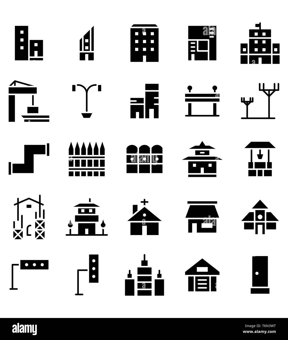 Set di costruzione e real estate città glifo nero illustrazione vettoriale Icona o simbolo. Corsa modificabile e colore Immagini Stock