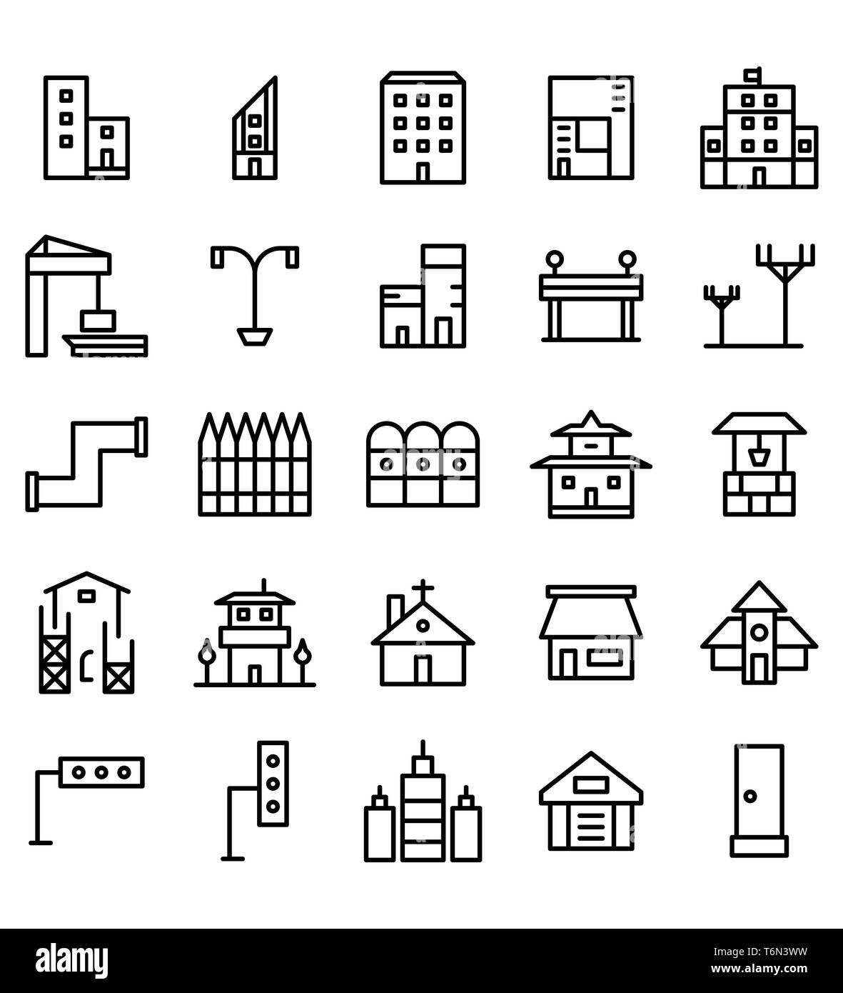 Set di edilizia e immobili city linea nera illustrazione vettoriale Icona o simbolo. Corsa modificabile e colore Immagini Stock