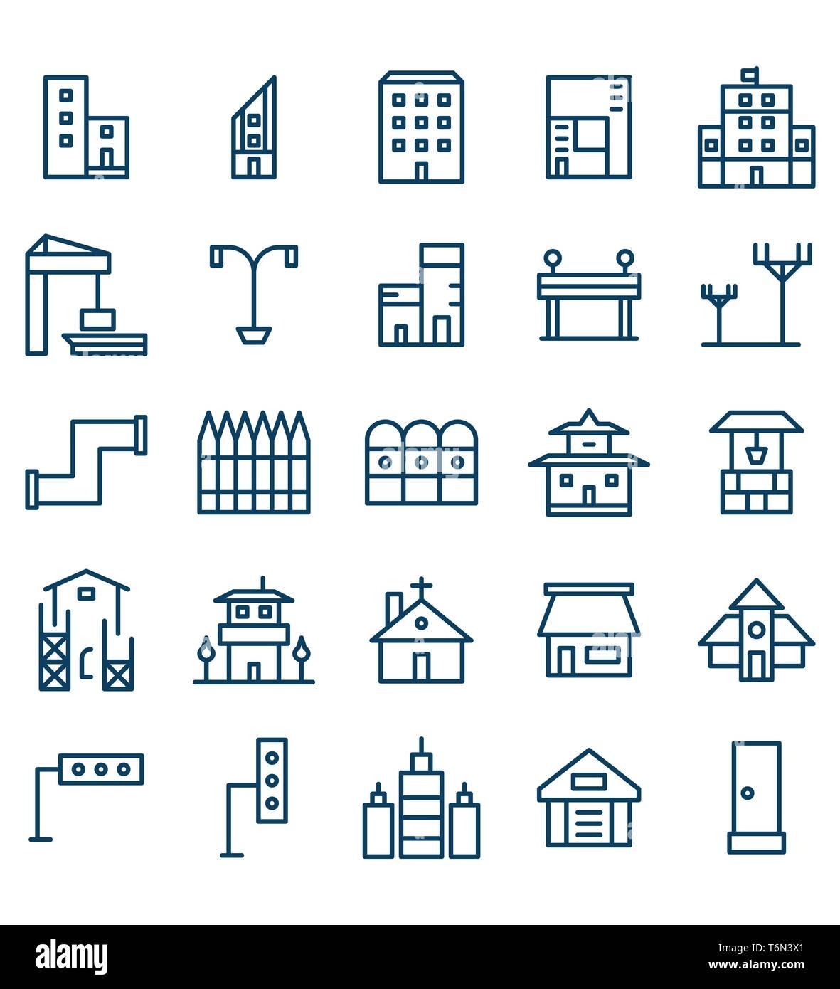 Set di edilizia e immobili city Linea Blu illustrazione vettoriale Icona o simbolo. Corsa modificabile e colore Immagini Stock