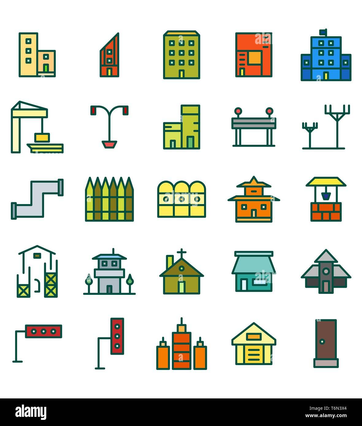 Set di edilizia e immobili city flat Color illustrazione vettoriale Icona o simbolo. Corsa modificabile e colore Immagini Stock